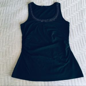 WHBM black embellished tank, size small.